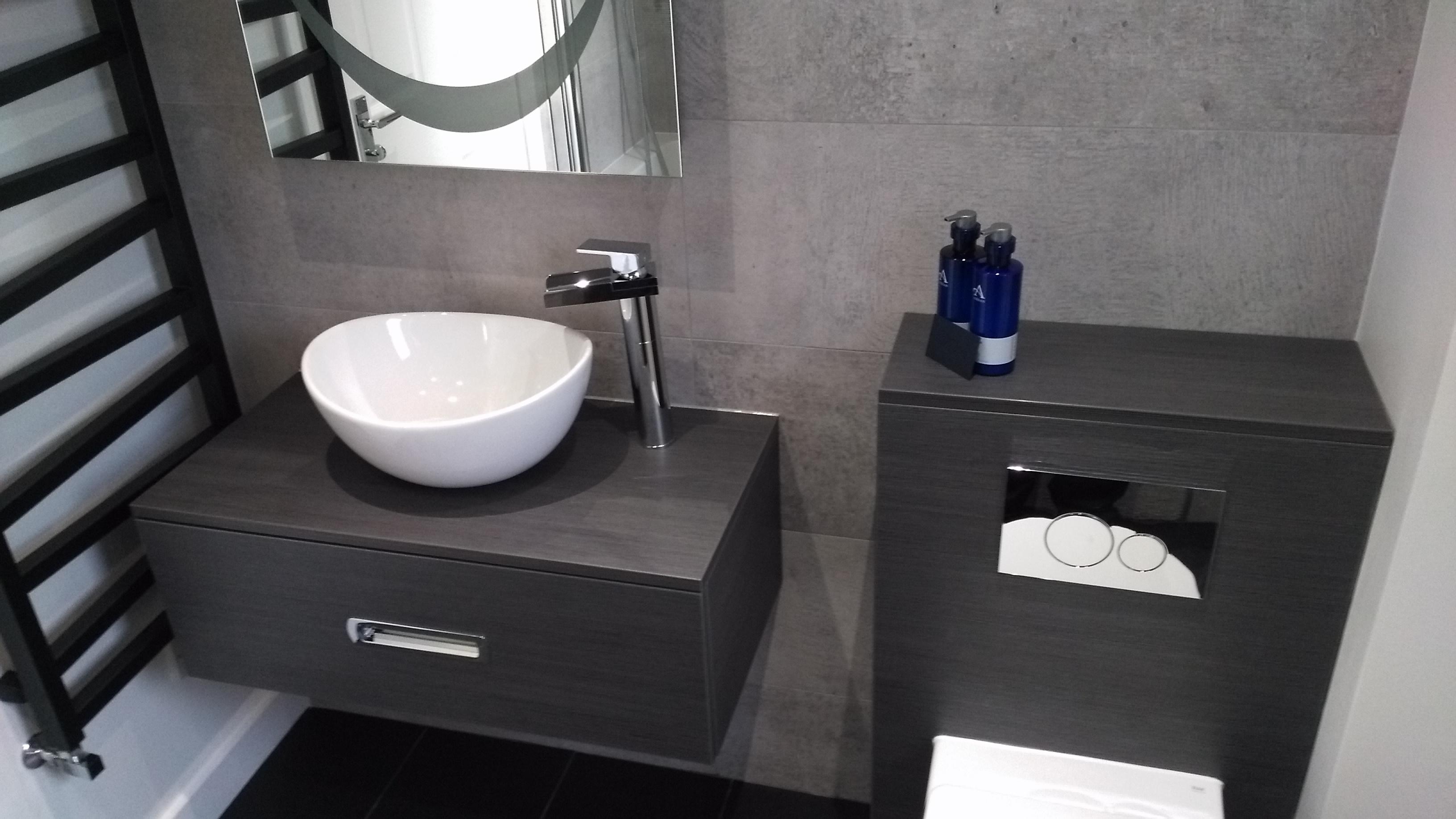 Dark Wood laminate vanity unit and concealed cistern