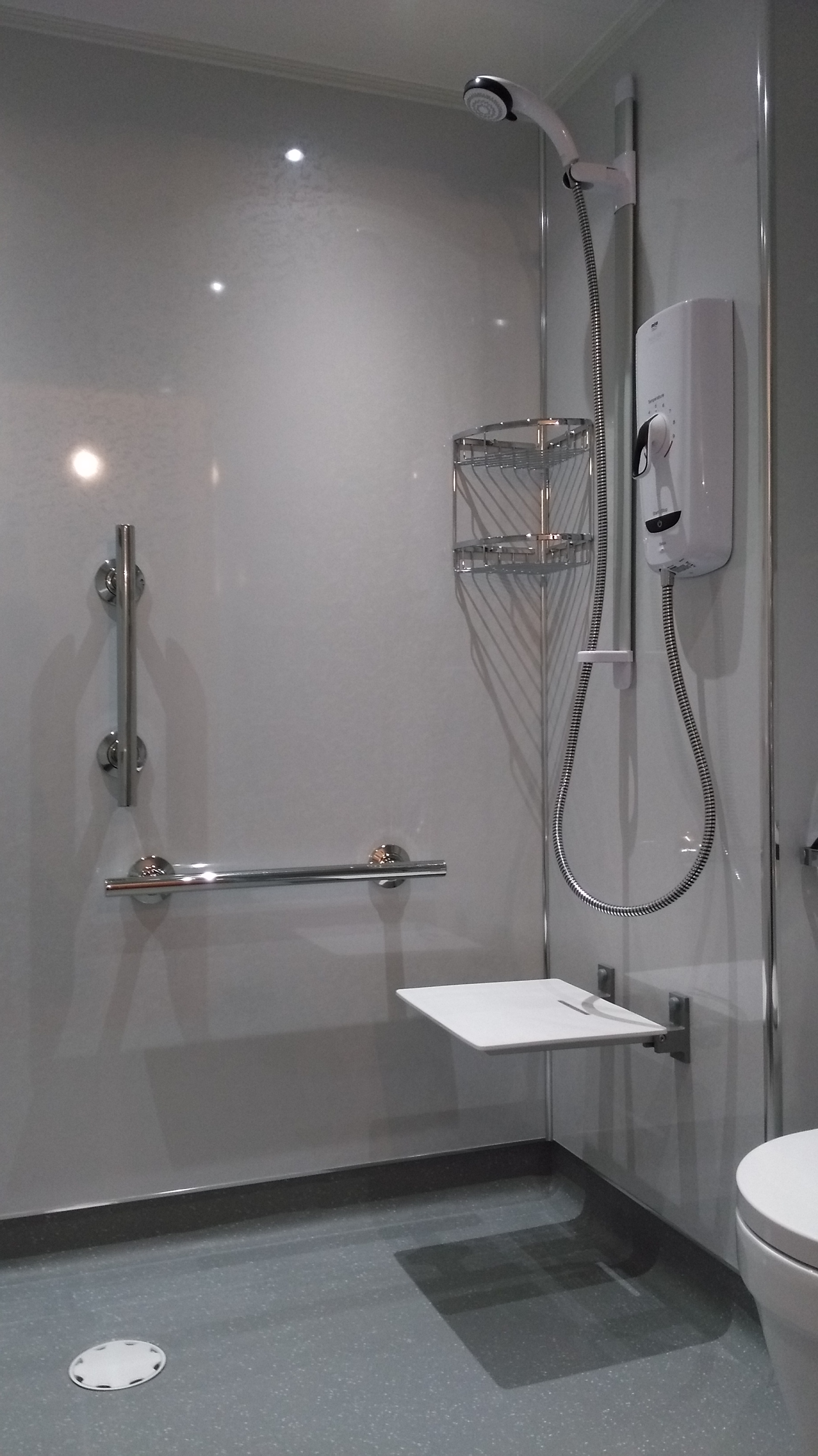 Accessible Shower with seat and handrails