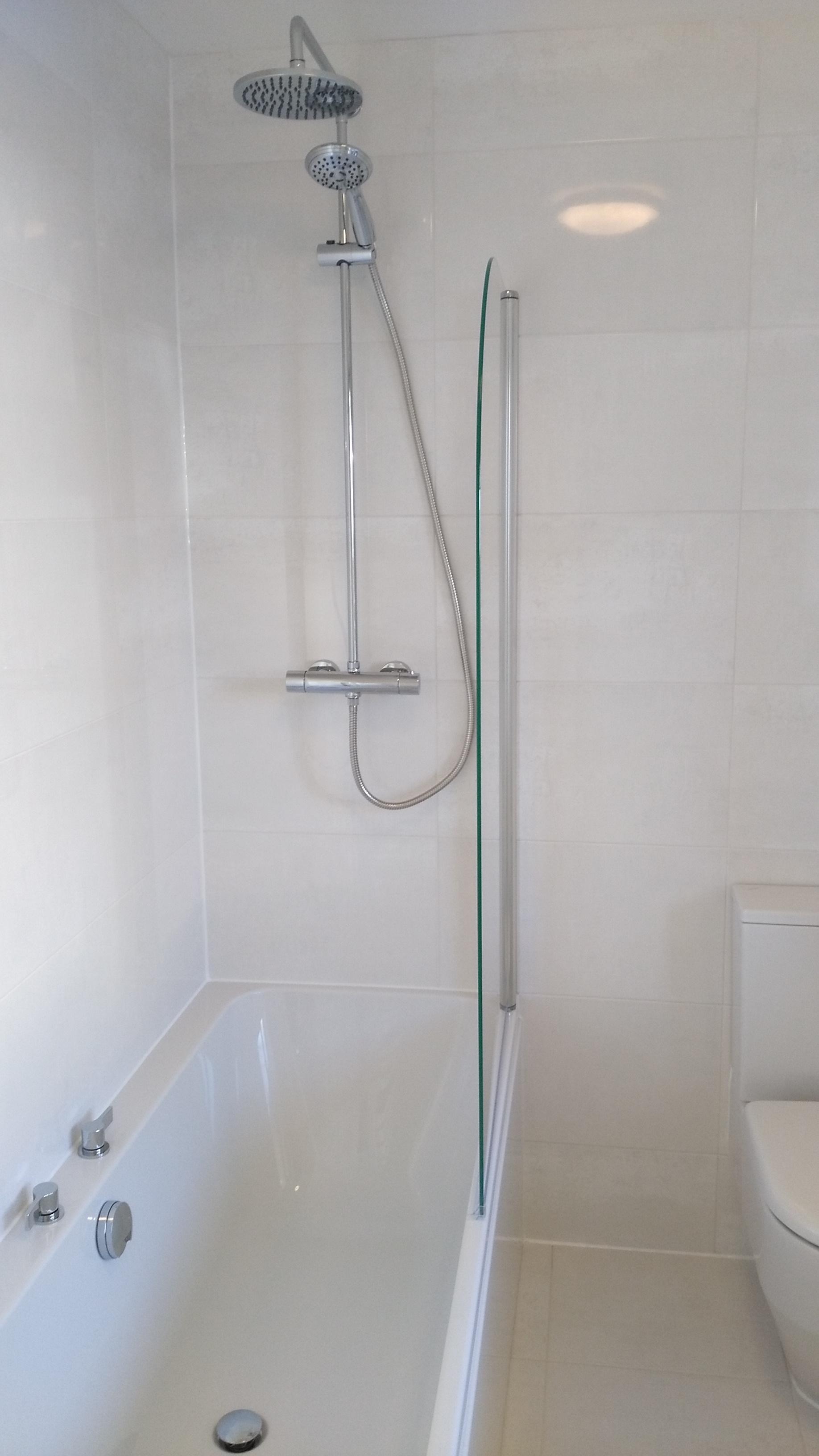 Exposed valve shower in white edinburgh bathroom
