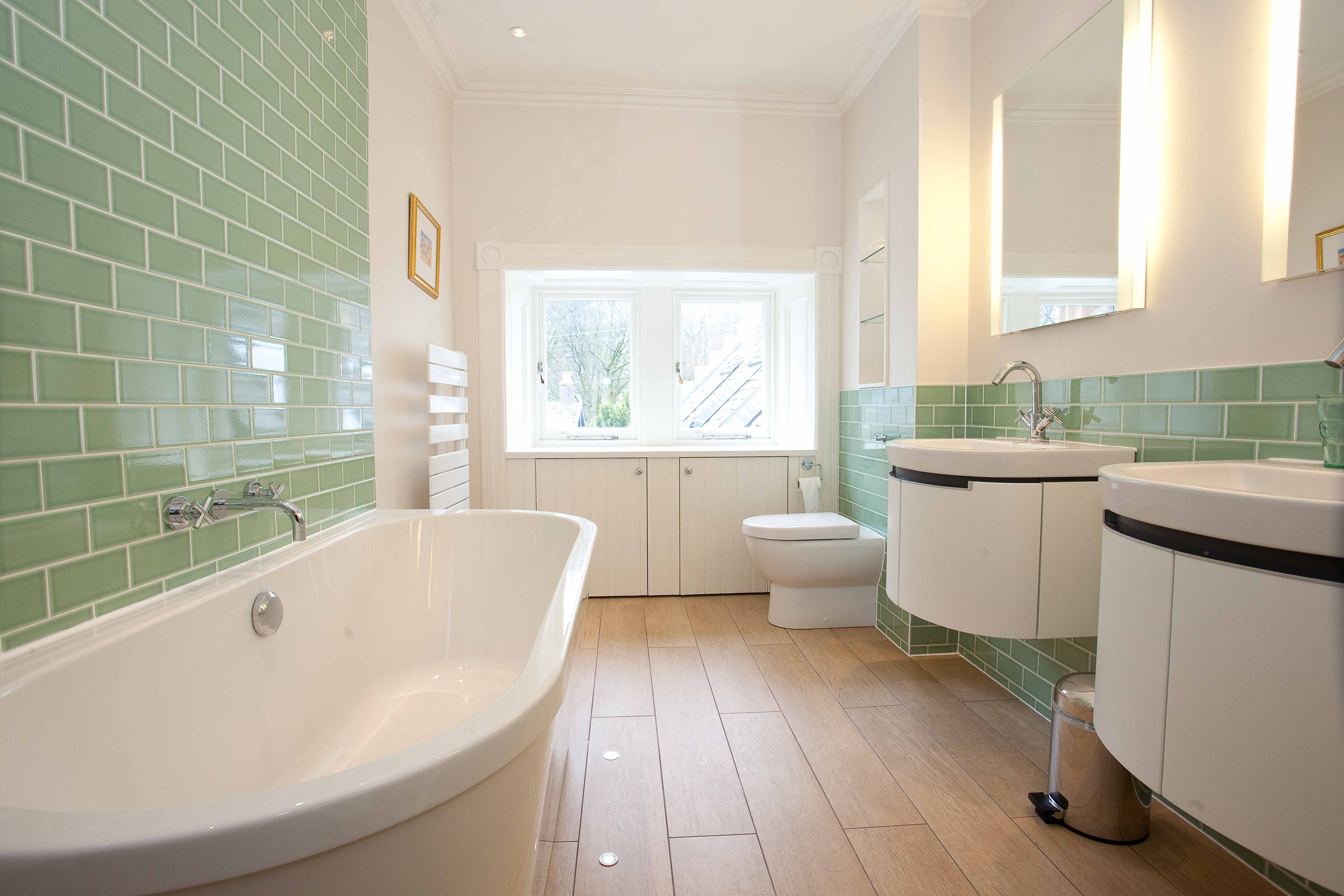 Fresh and modern Edinburgh bathroom Design with subway tiles
