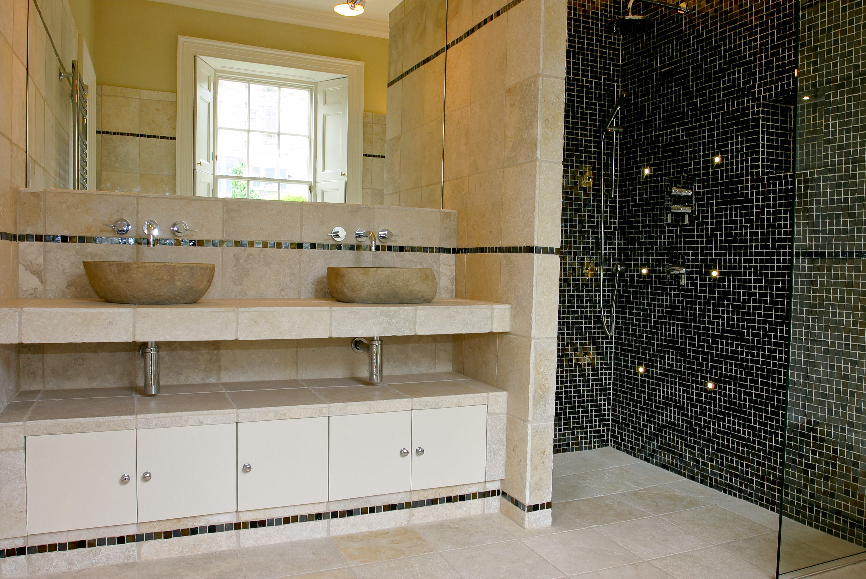 Bespoke Bathroom Double vanity unit with two solid stone sinks