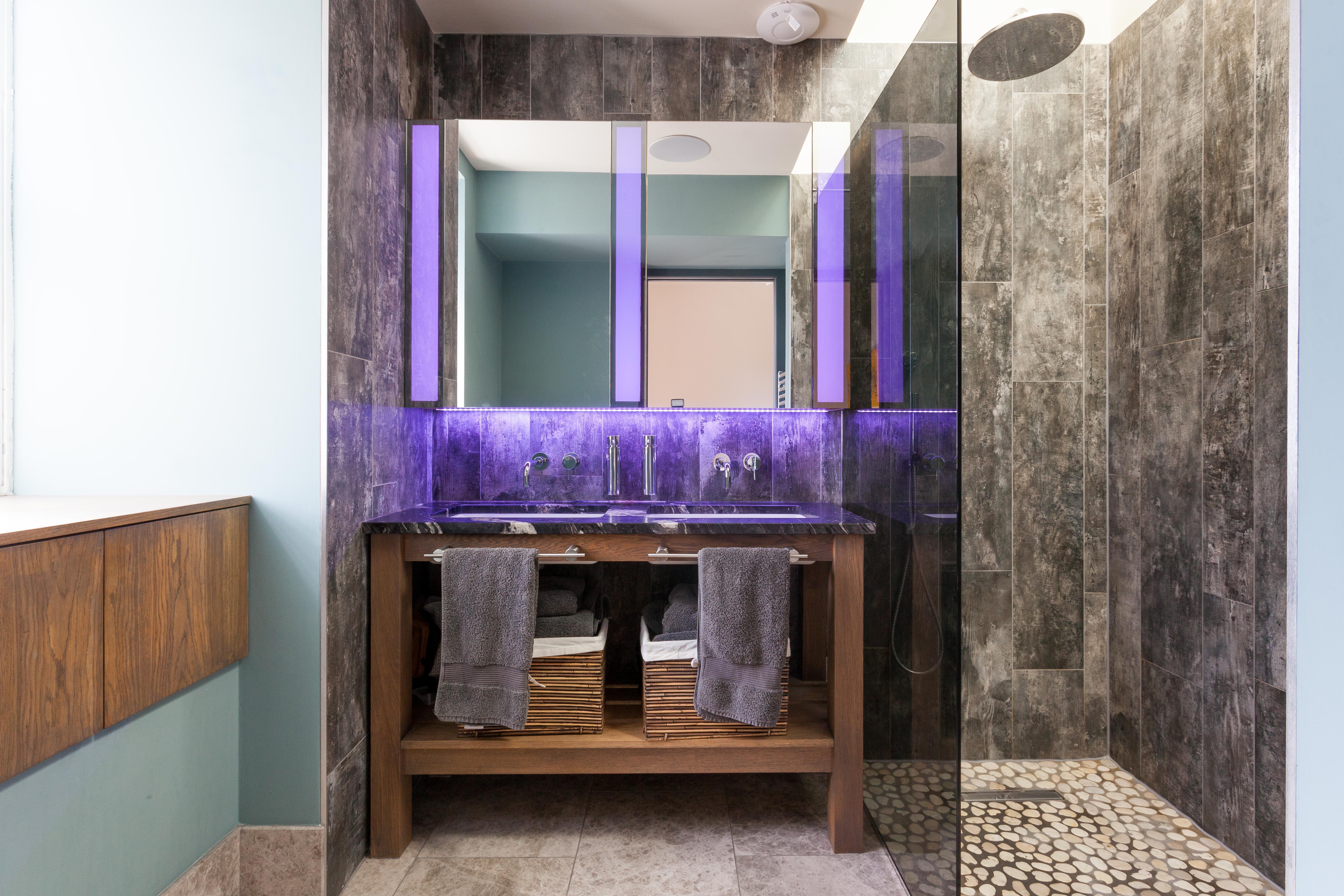 Oak Vanity Unit with Marble Worktop