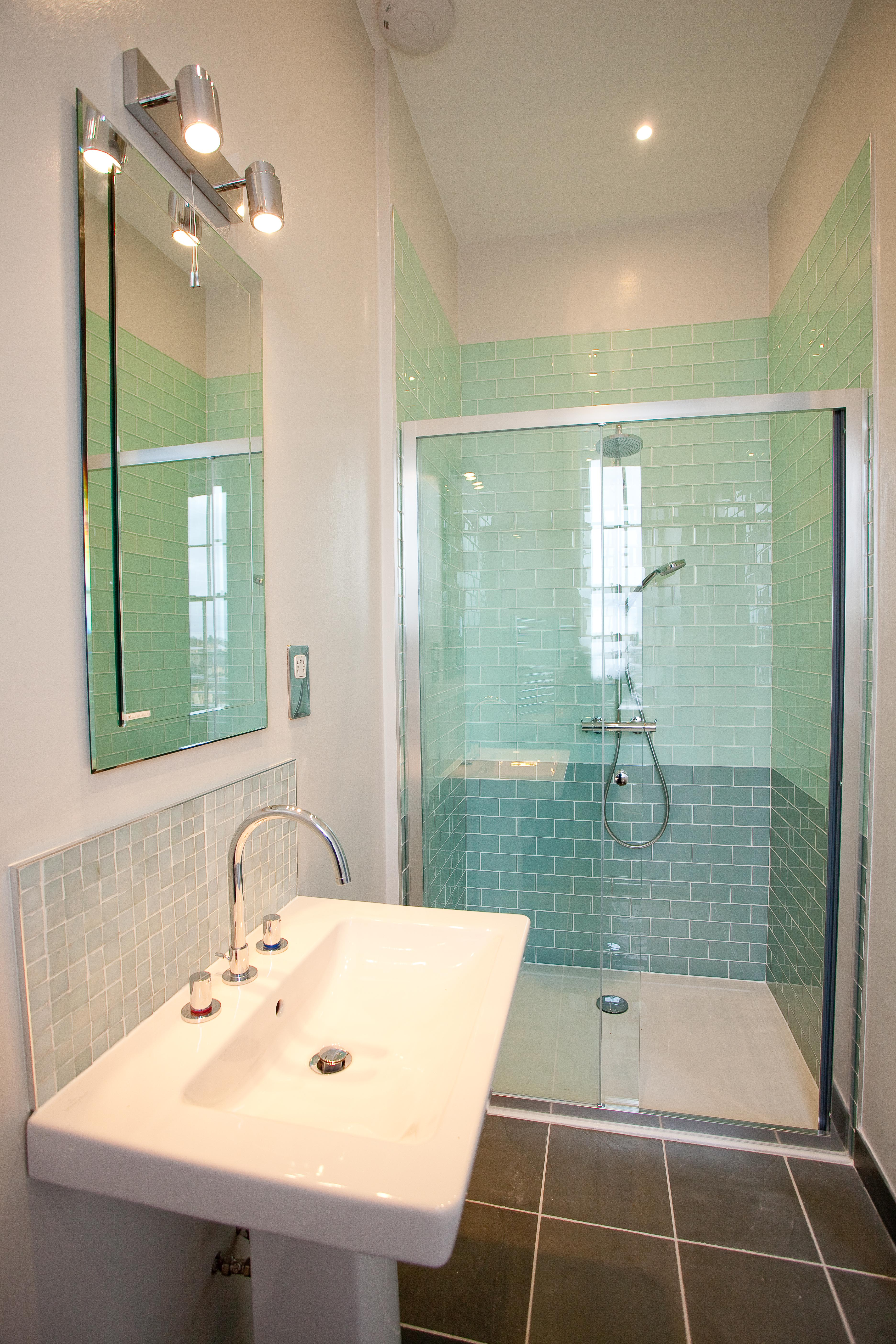 Edinburgh Shower Design with green mosaic tiles and sliding door