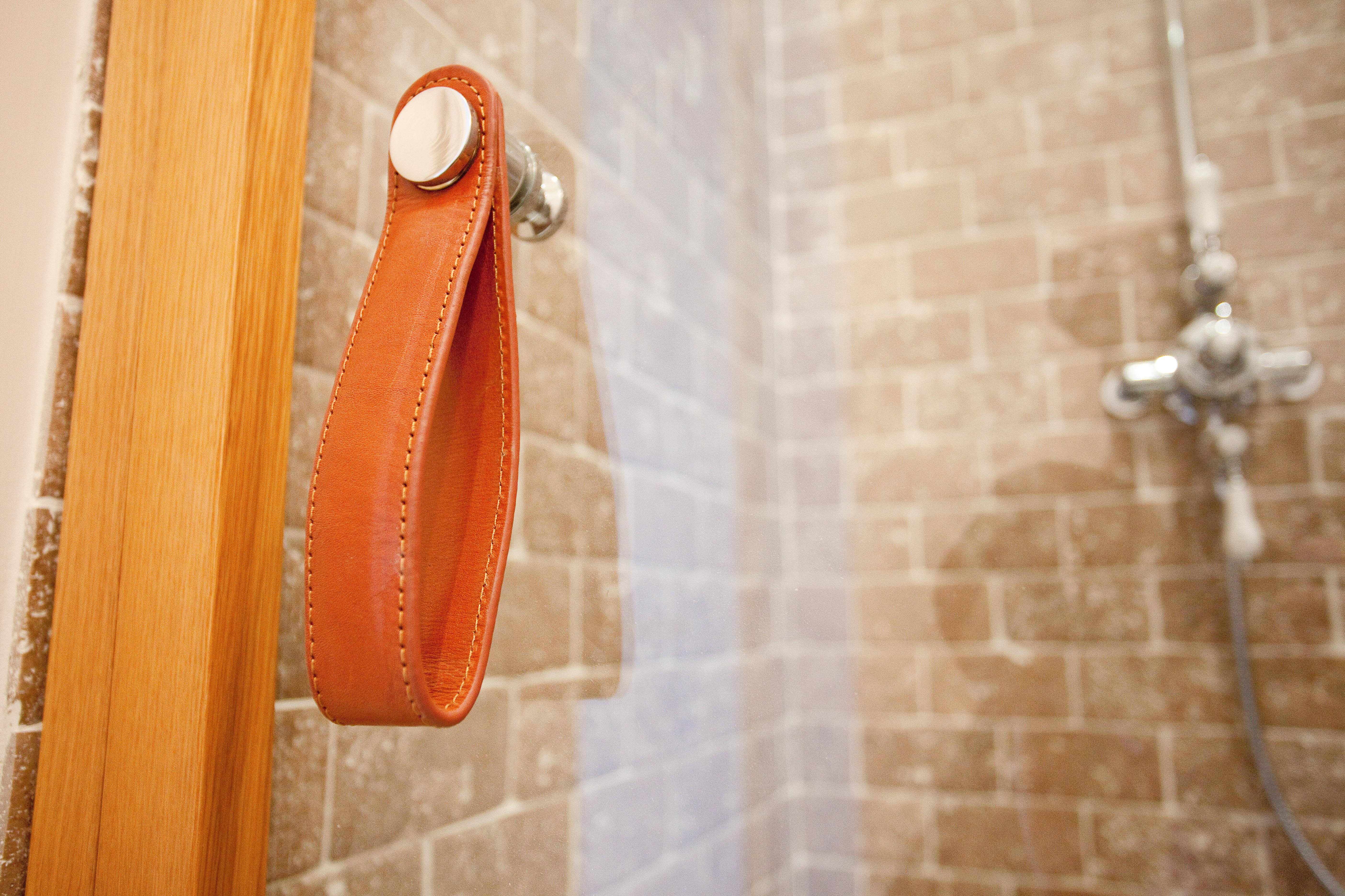 Leather Pull Handle for shower with stone mosaic tiles